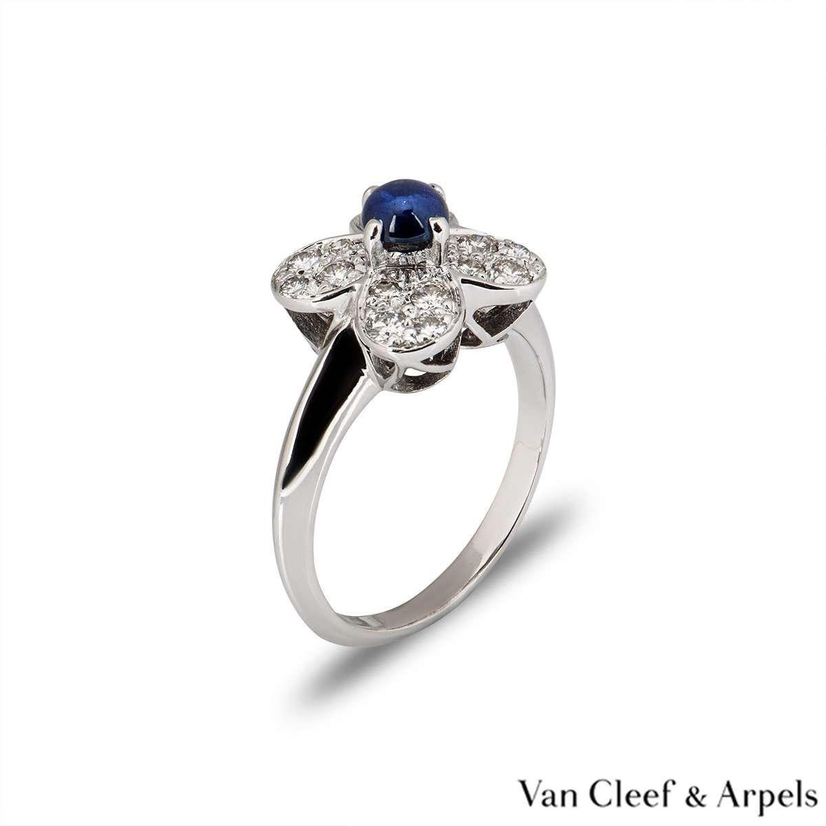 Van Cleef & Arpels White Gold Sapphire & Diamond Trefle Ring